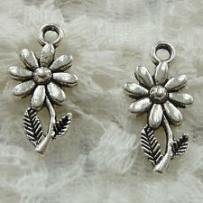 Free Ship 140 pieces Antique silver flower charms 19x10mm #351