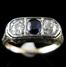 Diamond Old European Cut Sapphire Platinum Top 14k Yellow Gold Ring Art Deco