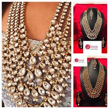 INDIAN Pakistani Bridal Big Stone gold & Clear Necklace , Earrings & Maangtikka