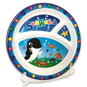SeaWorld Melamine Childs Divided Plate Baby Shamu and Sea Life Rainbow and Blue