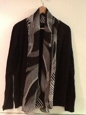 NEW ANNE KLEIN Black White Drape Open Front Black Cardigan Sweater S Small NWT