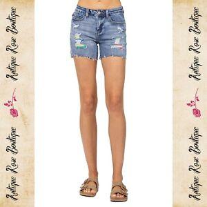 🌹 Judy Blue Serape Patch Mid-Rise Shorts