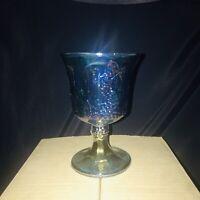 Vintage Indiana Carnival Glass Depression iridescent blue harvest grape goblets
