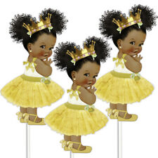 3 Gold Tutu Princess Centerpieces African American Birthday Table Decor