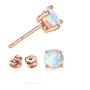 Rose Gold 8mm Round Opal Stud Earrings Set on 925 Sterling silver Gift Box PE19