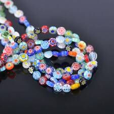 100pcs Mixed 6mm Oblate Coin Millefiori Flower Lampwork Glass Loose Beads Lot