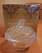 WILLIAMS SONOMA CLEAR PRESSED GLASS ACORN TUREEN WITH LID - NEW IN BOX