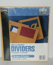 NEW Mead Add-a-pocket Dividers Yellow 8 Pack 16 Pockets Fits 3 ring Binders