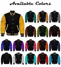 Super Varsity Letterman Baseball Jackets Black Body Multicolored Leather Jackets