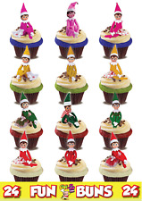 ELF ON THE SHELF 24 MIX Standup Cake Toppers. Novelty Fun Party Edible Wafer