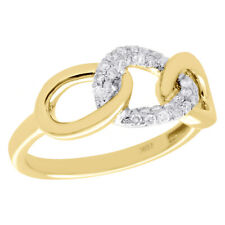 10K Yellow Gold Diamond Interlinked Band Triple Link Right Hand Ring 0.20 Ct.