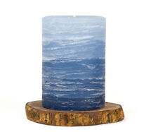 "Blue Layered Pillar Candle - 3x4"" Rustic - Nautical Collection - Unscented"