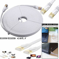 RJ45 Cat7 Ethernet Network Gold Plated Cable Ultra-thin Flat LAN Patch Lead Lot