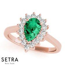 New Genuine Pear Shape Cut Emerald Gem & Diamond Engagement 14kt Rose Gold Ring