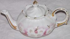 Porcelain Art Miniature Teapot White Pansy Lotus Pink Background Gold Gilt