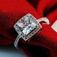 White Gold Plated Princess Cut Square Women Ring Made With Swarovski Crystal R3