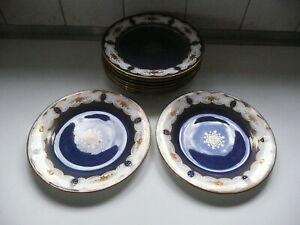 12 Crown Staffordshire porcelain A12817 Cobalt Blue GOLD ROSE Border 22 cm plate