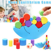 Moon Shape Balancing Equilibrium Toy Kids Game Toy Wooden Stacking Play Blocks