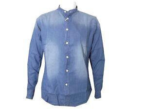 camicia di jeans da uomo a manica lunga collo coreana camicie denim xxl 52 slim