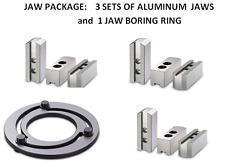 "JAW $$ SAVER PKG for 8"" CHUCKS -3 Sets ALUMINUM Jaws w/1.5x60 Serr&1 Boring Ring"
