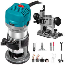 Compact Router Kit 710W 1-1/4HP Variable Speed with Plunge&Trimmer Base Powered