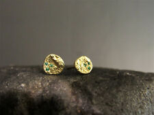 14K yellow solid gold earrings with 3 Emerald.14k handmade stud gold Earrings.
