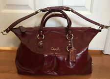 Red Merlot Coach Ashley Medium Satchel Gold Hardware Crossbody Strap Purse Bag