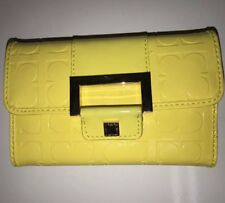 LIZ CLAIBORNE NWT Small Trifold Organizer Wallet Yellow Citrus Patent Leather