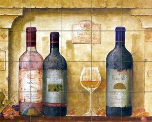 Wine Bottle Art Mural Ceramic Backsplash Bath Tile #422