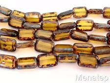 10 12 x 8mm Polished Rectangle Beads: Fire Opal - Picasso