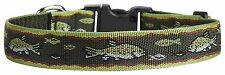 """New NWT Fun Dog Puppy Lupine Brook Trout Collar 16-28"""" Adjustable Large Green"""