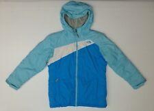 The North Face Girls Size XL (18) Blue White Lined Coat Jacket EUC