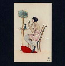SMOKING NUDE WOMAN Art Deco fumo fine signora sopra senza * VINTAGE 30s drawing RPPC