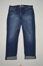 KUT from the Kloth 10 Slim Ankle Rolled Cuff Dark Distressed Stretch Denim Jeans