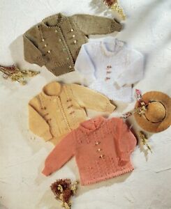 Baby DK Knitting Pattern Baby Sweaters and  Cardigans  Sizes 16-26 inches #204