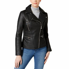 Inc International Concepts $180 NWT XL  Black Faux-Leather Quilted Jacket New!