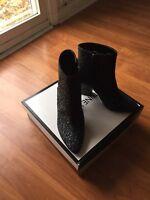 NEW Nine West Savitra Womens Sz 6.5 M Blue Black Sparkle Ankle Boots $119