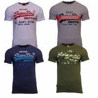 Superdry Mens New Vintage Logo Short Sleeve Crew Neck Print T-Shirt Blue White