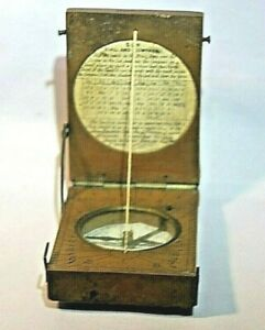 Antique Chinese  Fruitwood Diptych Sundial Compass in Fitted Wood Case