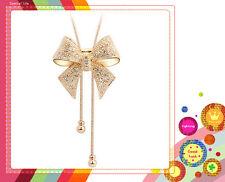 Elegante Cristal Forma Nudo Mariposa Colgante Largo Suéter De Collar Cadena HOT