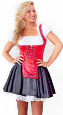 Womens Red Beer Maid Oktoberfest Wench Ladies Fancy Dress Costume Size 8 - 10