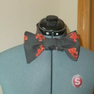 Handmade NEW ACDC Rock Band Cotton Self Tie Not Adjustable Red Bolt Mens Bow Tie