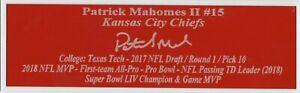 Patrick Mahomes Kansas City Chiefs Autograph Nameplate Football Helmet Jersey