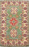 Geometric GREEN Super Kazak Oriental Area Rug Wool Hand-Knotted 2x3 ft Carpet