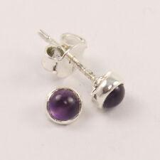 Small Stud Post Earrings Natural AMETHYST Gemstone 925 Sterling Silver