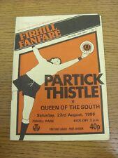 23/08/1986 Partick Thistle V regina del Sud. grazie per la visualizzazione di questo oggetto,