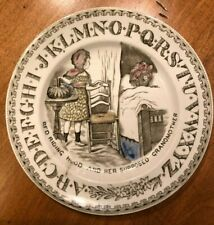 Early Staffordshire ABC Child Plate Red Riding Hood 1880 Brownhills Transferware