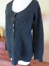 Inhabit Thick Cashmere Cardigan  Pullover Sweater Deep Plunge Scoop Neck  Sz S-M