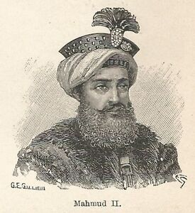 A7220 Mahmud II - Print Antique Of 1928 - Xylograph