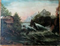 19th Century O/C European Mountain & River Scene with Steam Engine Train